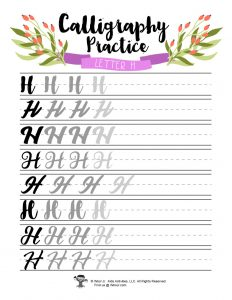 Letter H DIY Calligraphy Printable
