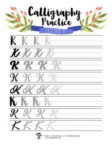 Letter K Cursive Practice for Kids