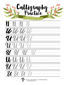 Letter U Capital Practice Writing