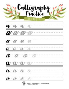 Lowercase A Letter Handwriting Practice