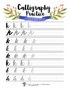 Lowercase K Printable Calligraphy Practice