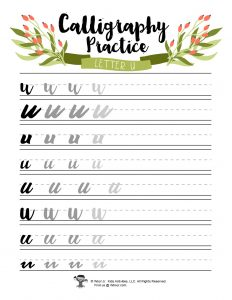 Lowercase U Printable Bullet Journal Calligraphy