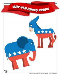Printable Democrat Donkey Republican Elephant