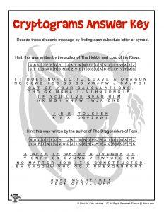Printable Drago Cryptogram - ANSWER KEY