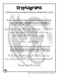 Printable Tolkien Anne Mccaffery Cryptogram