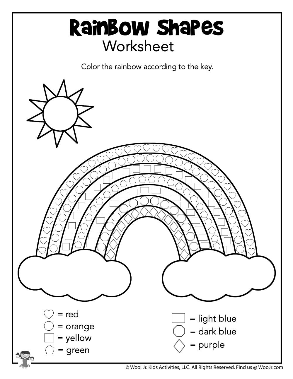 Rainbow Worksheets For Kindergarten