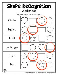 Shape Recognition Worksheet Printable - ANSWERS