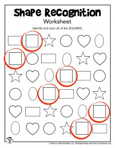 Shape Recognition Worksheet Squares - KEY