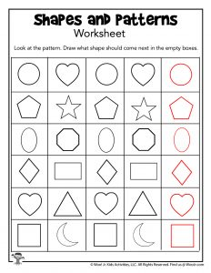 Shapes and Pattern Recognition Worksheet - KEY