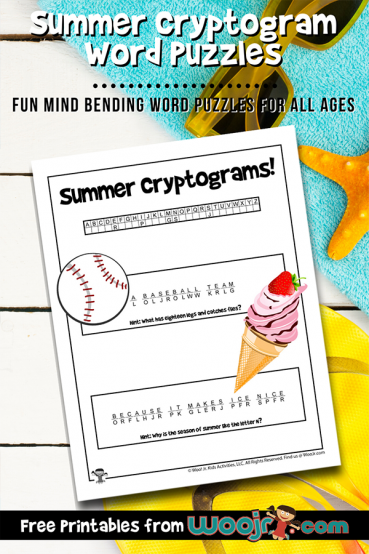 Summer Cryptogram Word Puzzles