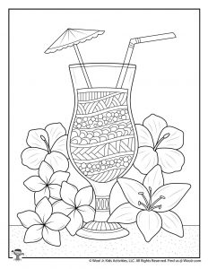 Adult Coloring Tropical Drink