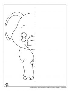 Elephant Symmetry Drawing for Kids