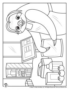 Essential Grocery Worker Coloring