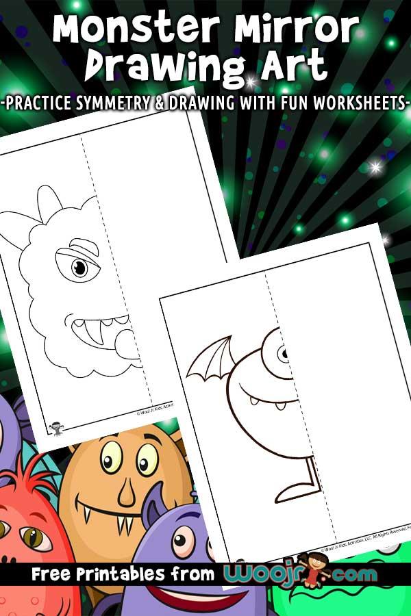 Monster Mirror Drawing Worksheets