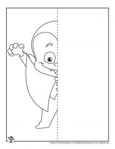 Little Vampire Drawing Worksheet for Kids
