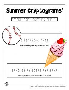 Printable Summer Cryptogram Decode Puzzle - KEY