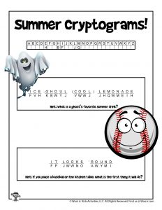 Summer Secret Code Word Puzzle - KEY