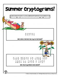 Summer Cryptogram Word Puzzle for Kids - KEY