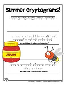 Printable Summer Cryptogram Puzzle