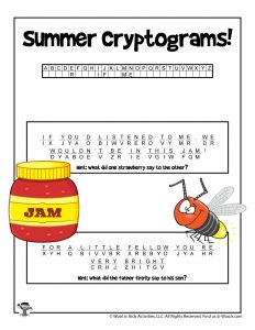 Printable Summer Cryptogram Puzzle - KEY