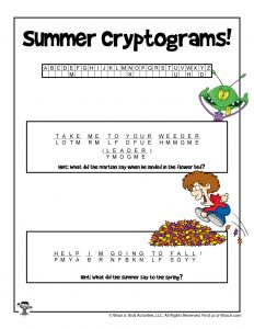 Summer Cryptogram Riddle Word Puzzle - KEY