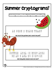 Summer Cryptogram Word Puzzle Game - KEY