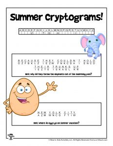Summer Cryptogram Puzzle Game - ANSWER KEY