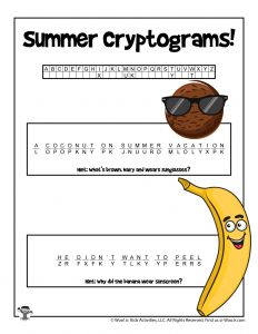 Summer Cryptogram Code Puzzle for Kids - KEY