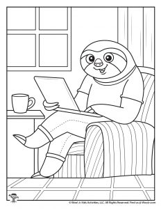Working at Home Coloring Page to Print