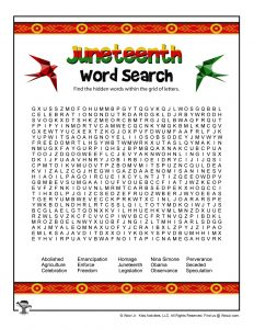 Juneteenth Word Search
