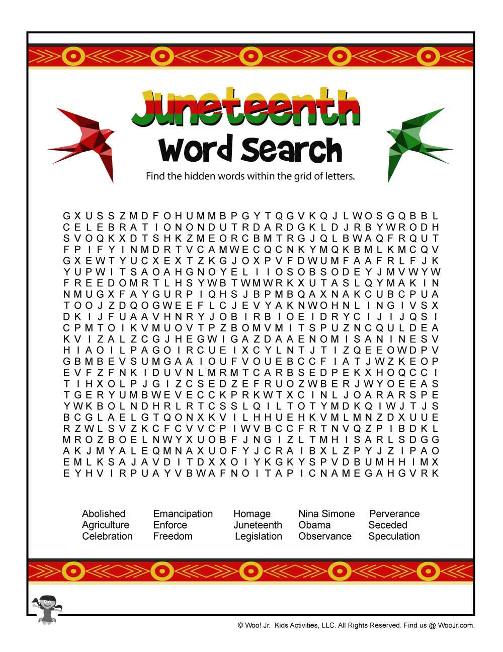 Juneteenth Word Search | Woo! Jr. Kids Activities