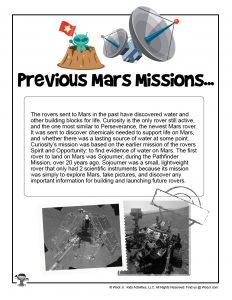Previous Mars Mission Worksheet