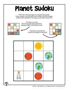 Printable Space Sudoku for Children