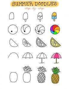 Printable Summer Bullet Journal Step by Step Doodles