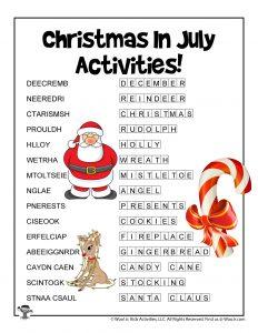 Word Scramble Christmas in July - KEY