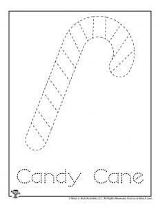 Candy Cane Tracing & Coloring Worksheet