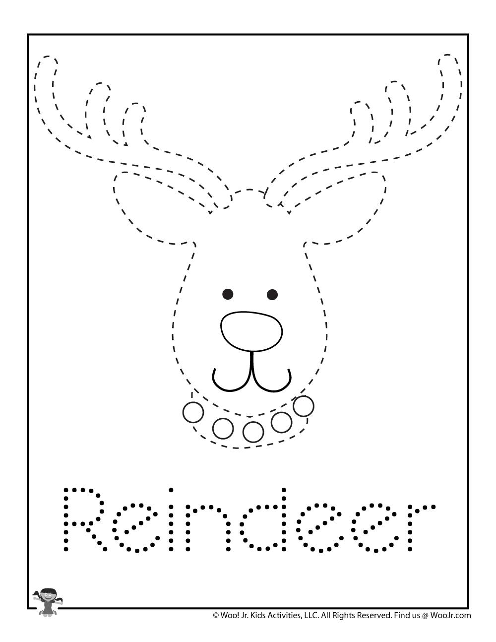 Christmas in July Reindeer Tracing Coloring Page   Woo! Jr ...