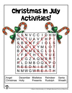 Christmas in July Word Search - KEY
