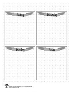 BUJO Week Schedule to Print