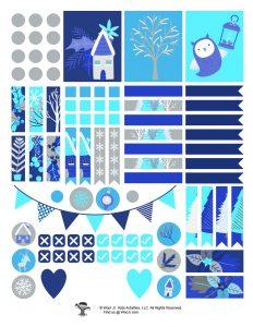 Silver Blue Holiday Sticker Set Printable