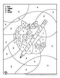 ABC & 123 Teacher Apple Coloring Page