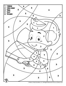 Boy Student Color by Number Coloring Sheet