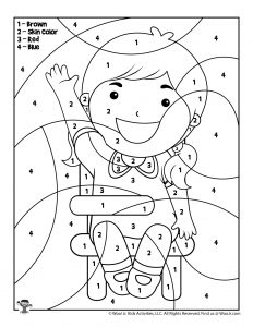 Girl Student Color by Number Worksheet