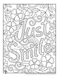 Smile Positive Messages Coloring Page for Adults