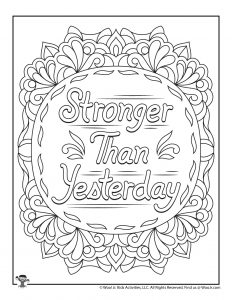 Stronger Than Yesterday Positive Coloring Page for Teens
