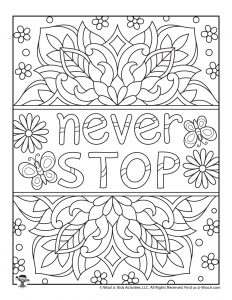 Adult Coloring Page Never Stop Positive Sayings