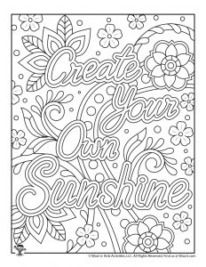 Positive Words Sunshine Printable Coloring Pages