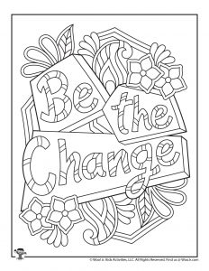 Be the Change Inspiring Quote Free Coloring Page