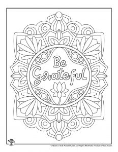 Be Grateful Encouraging Phrase Adult Coloring