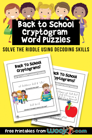 Back to School Cryptogram Word Puzzles